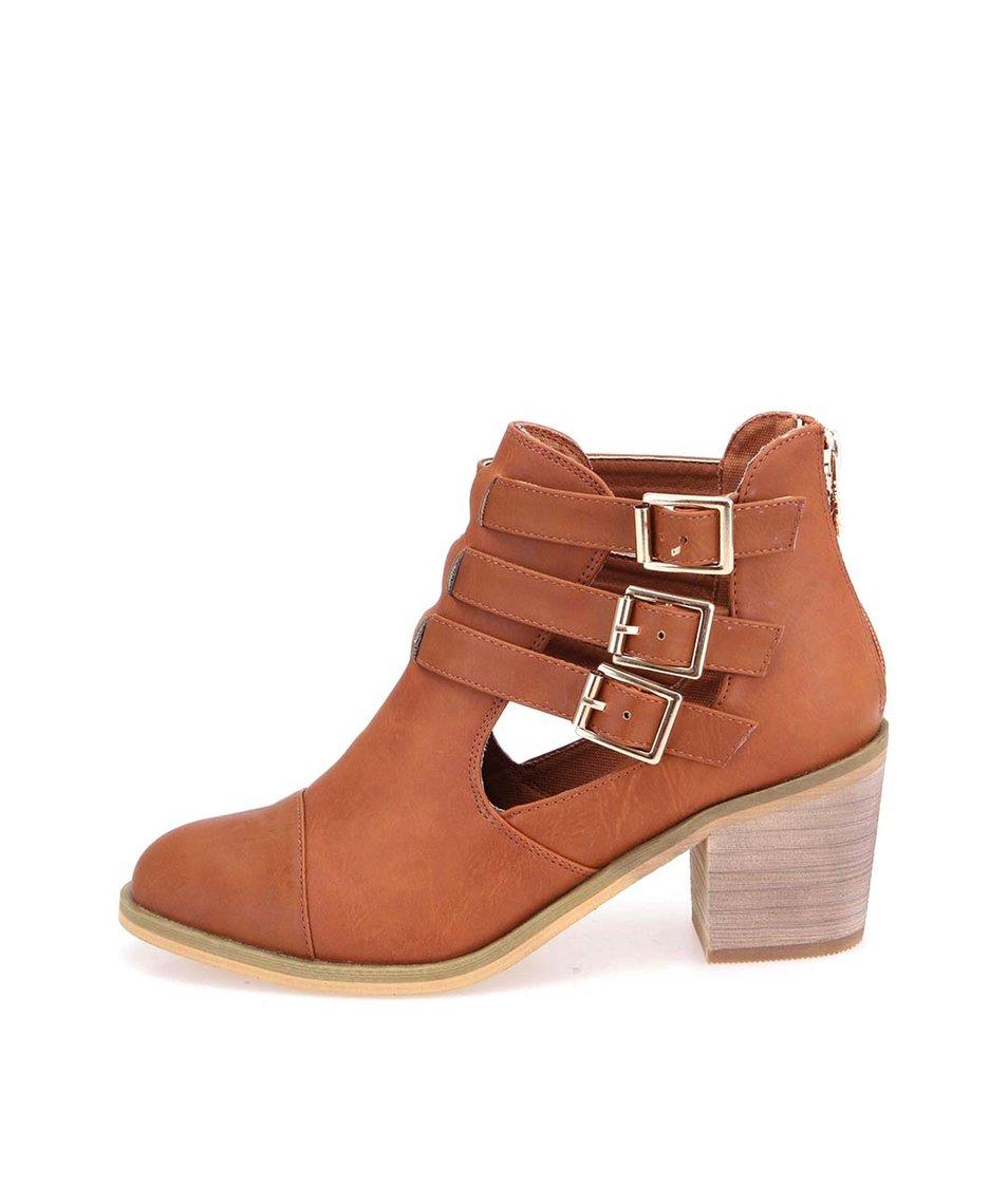 Hnědé kotníkové boty na podpatku s přezkami Xti