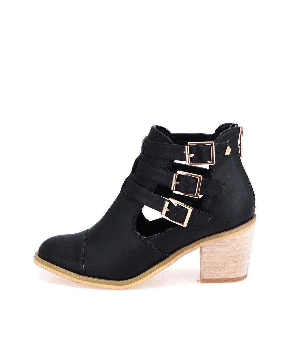 Černé kotníkové boty na podpatku s přezkami Xti