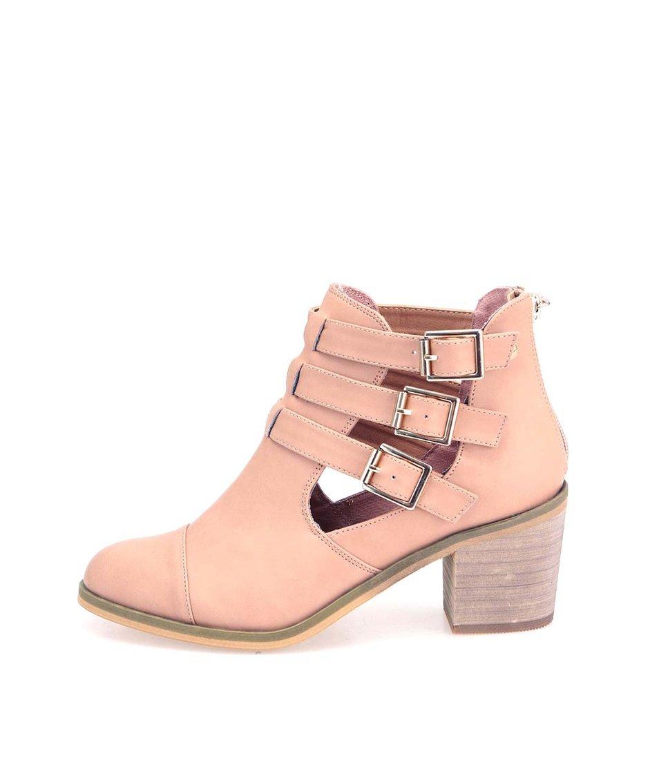 Meruňkové kotníkové boty na podpatku s přezkami Xti