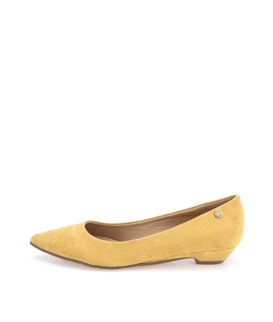 Žluté sametové balerínky s nízkým podpatkem Xti