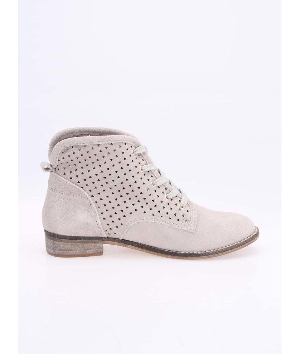 Světle šedé kožené perforované boty Xti