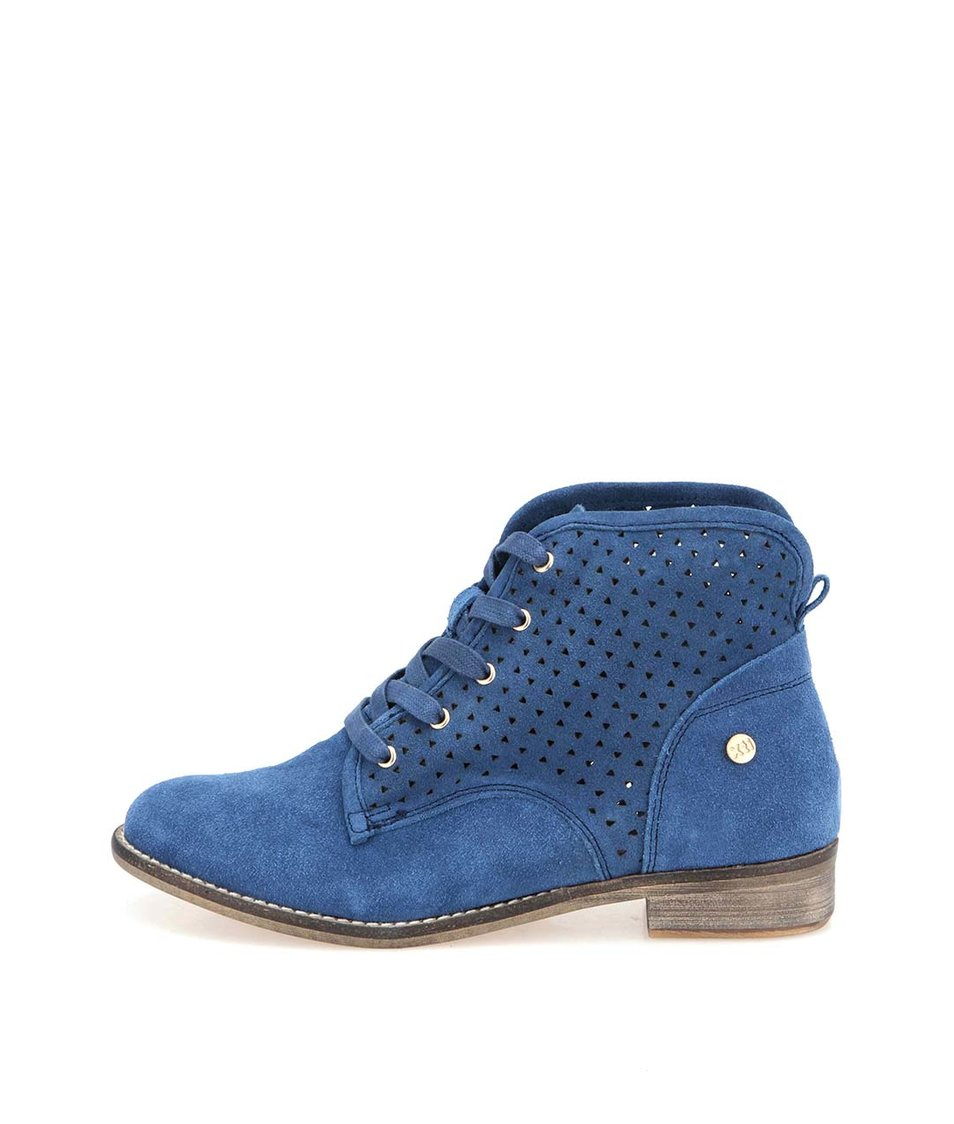 Modré kožené perforované boty Xti