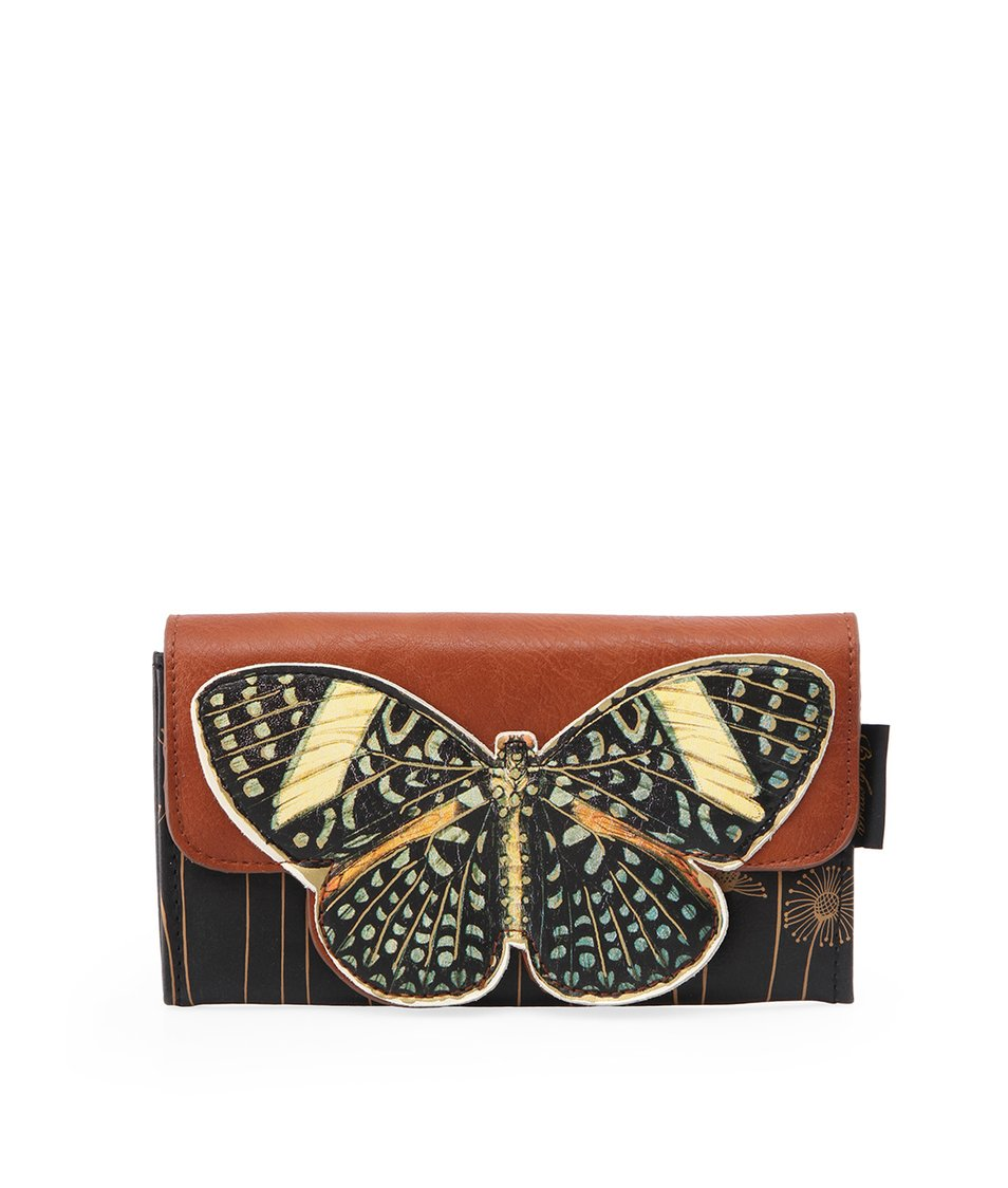 Hnědá peněženka s motýlem Disaster Bohemia