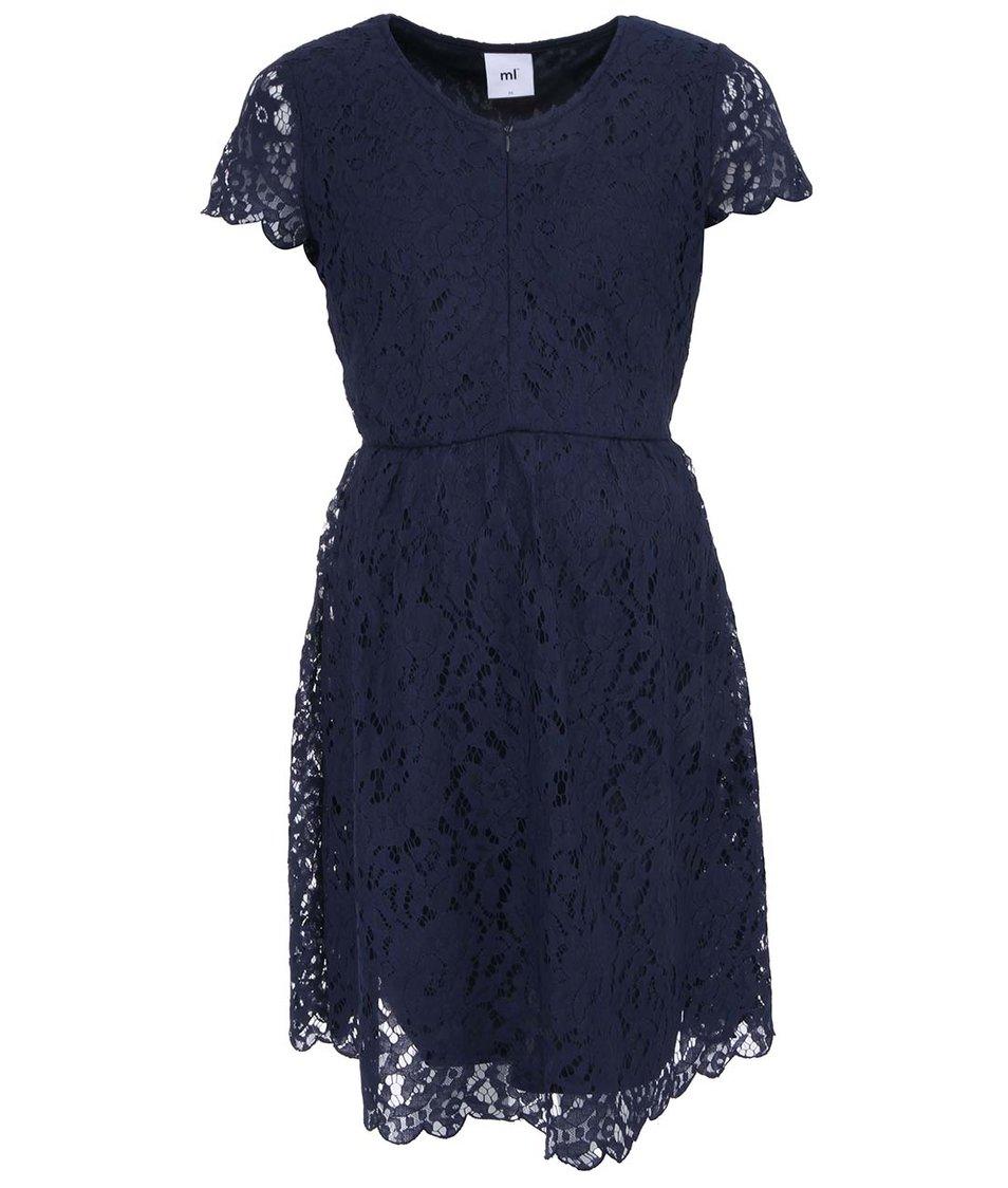Tmavě modré těhotenské krajkované šaty Mama-licious Ylva