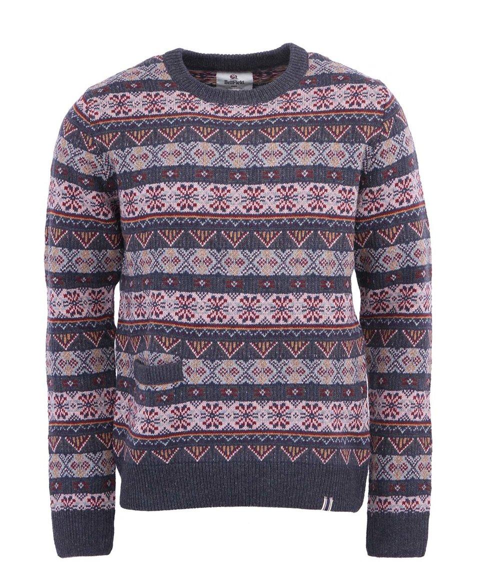 Šedý pánský svetr s barevným vzorem Bellfield Mimizuku