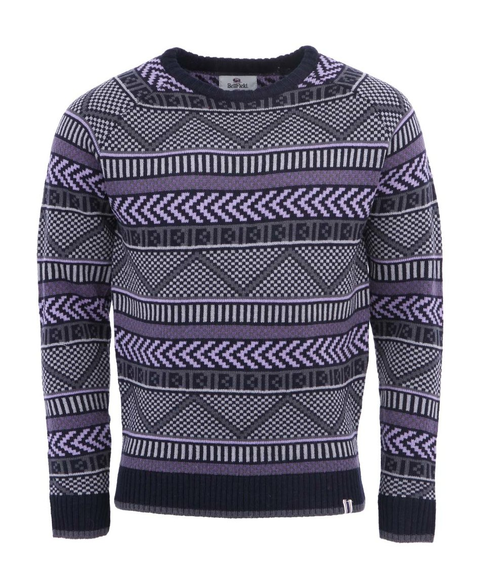Tmavě šedý pánský vlněný svetr se vzorem Bellfield Nessario