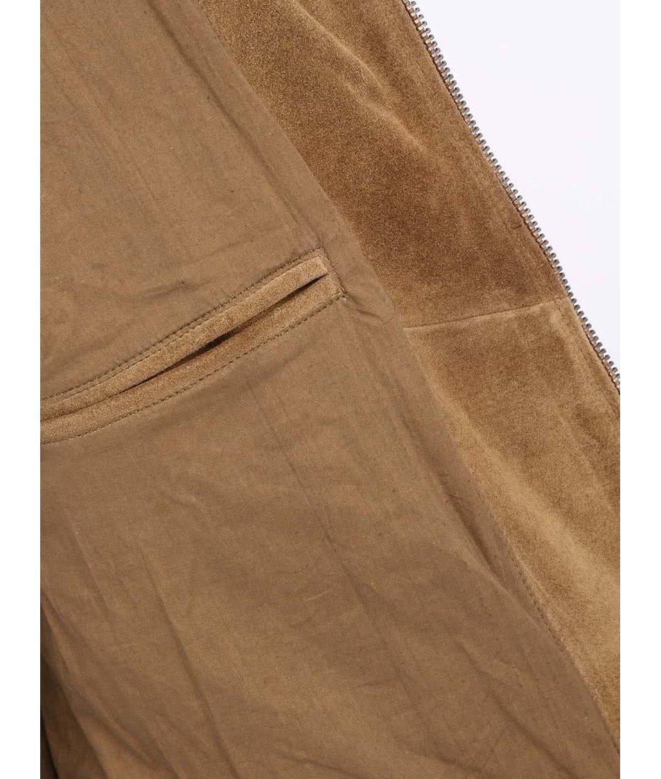 Hnědá kožená bunda Bellfield Bermuda