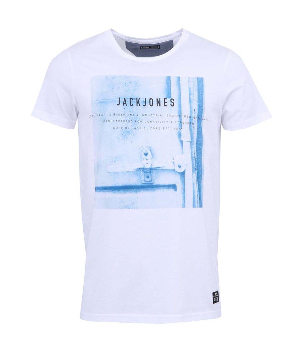 Bílé triko s modrým potiskem Jack & Jones Outside