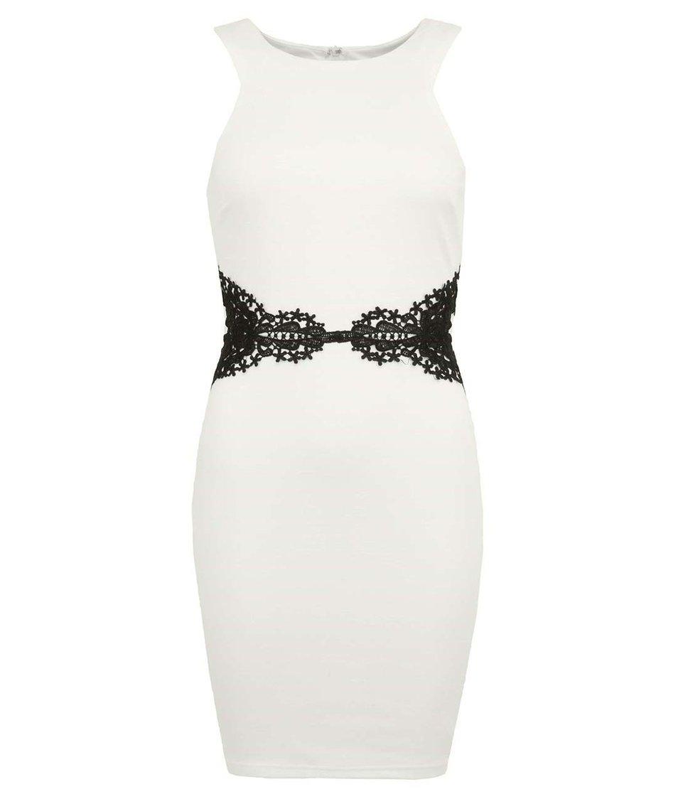 Bílé šaty s černou krajkou v pase AX Paris