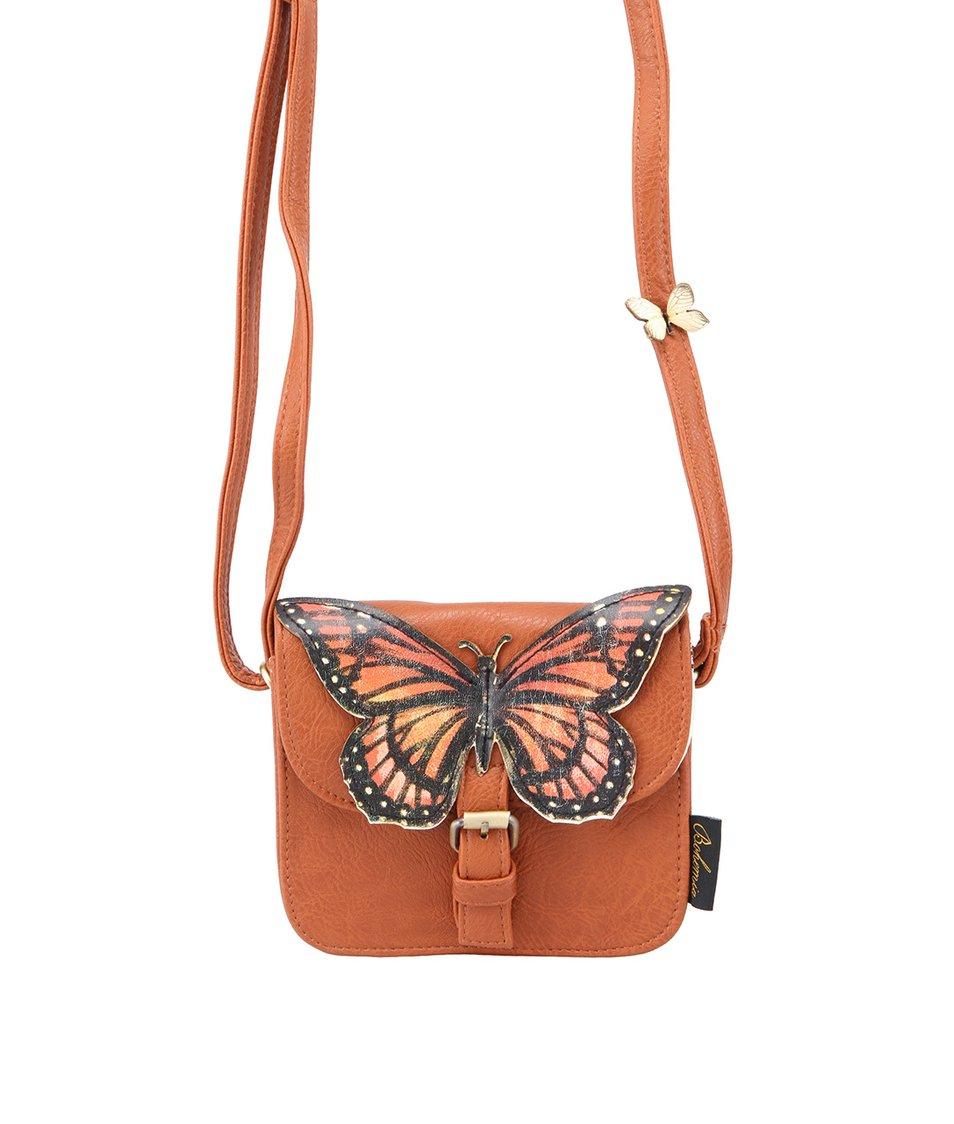 Hnědá mini kabelka s motýlem Disaster Bohemia