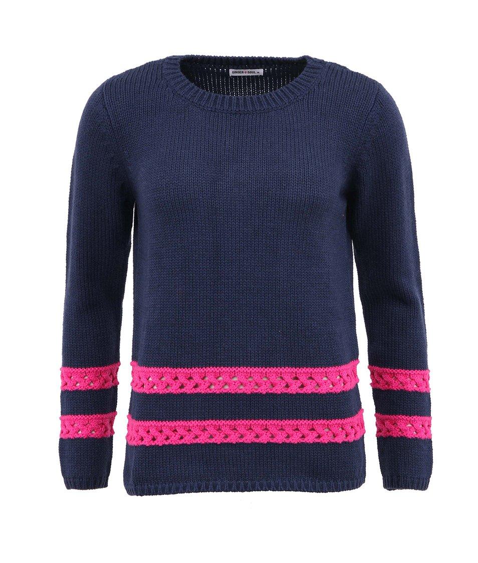 Tmavě modrý svetr s růžovými pruhy GINGER+SOUL
