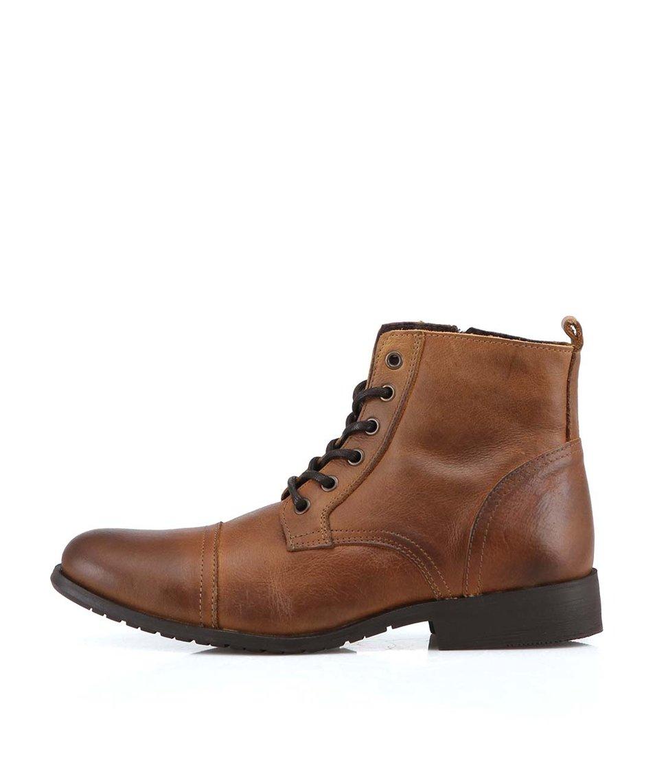 Hnědé kožené kotníkové boty Selected Taylor