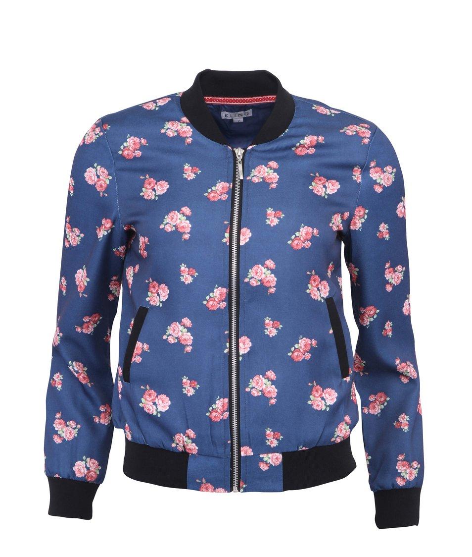 Modrá bunda s potiskem květin Kling Ferrara