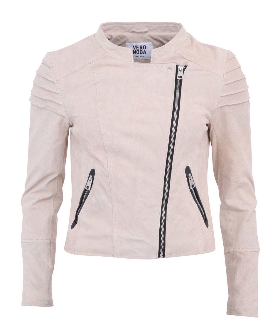 Béžová kožená bunda Vero Moda Dominate