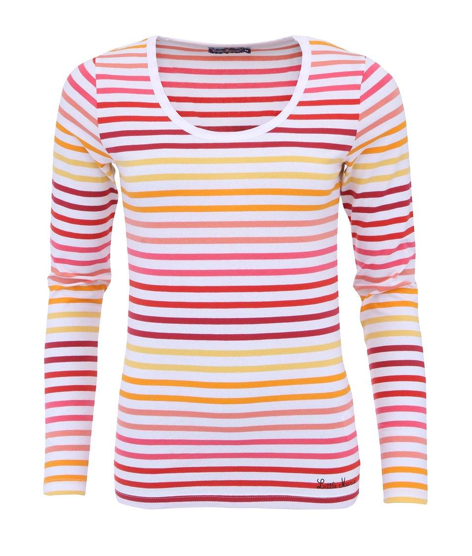 Růžovo-bílé pruhované triko s dlouhými rukávy Little Marcel Line ML