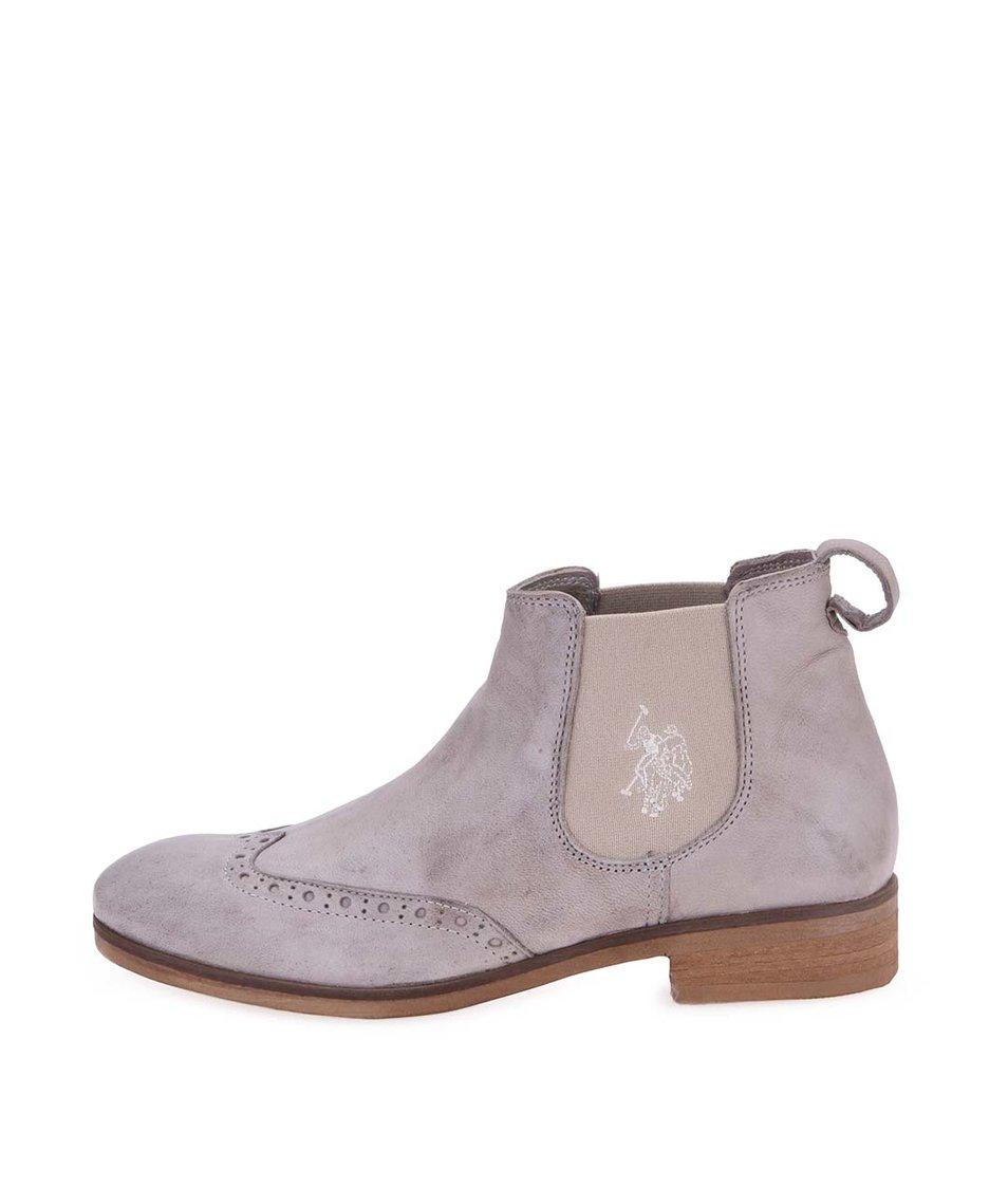 Šedé dámské kožené kotníkové boty U.S. Polo Assn. Lana