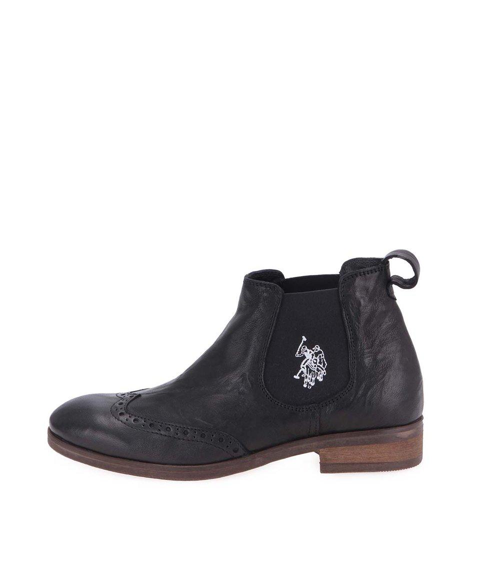 Černé dámské kožené kotníkové boty U.S. Polo Assn. Lana
