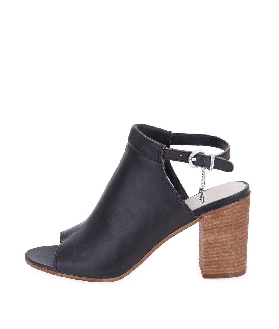 Černé kožené boty na podpatku U.S. Polo Assn. Lawanda