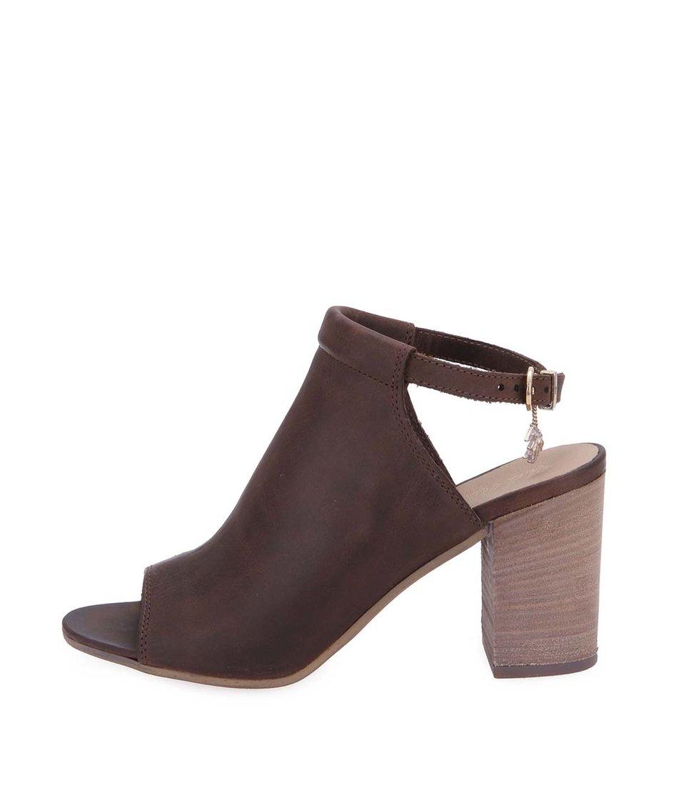 Hnědé kožené boty na podpatku U.S. Polo Assn. Lawanda