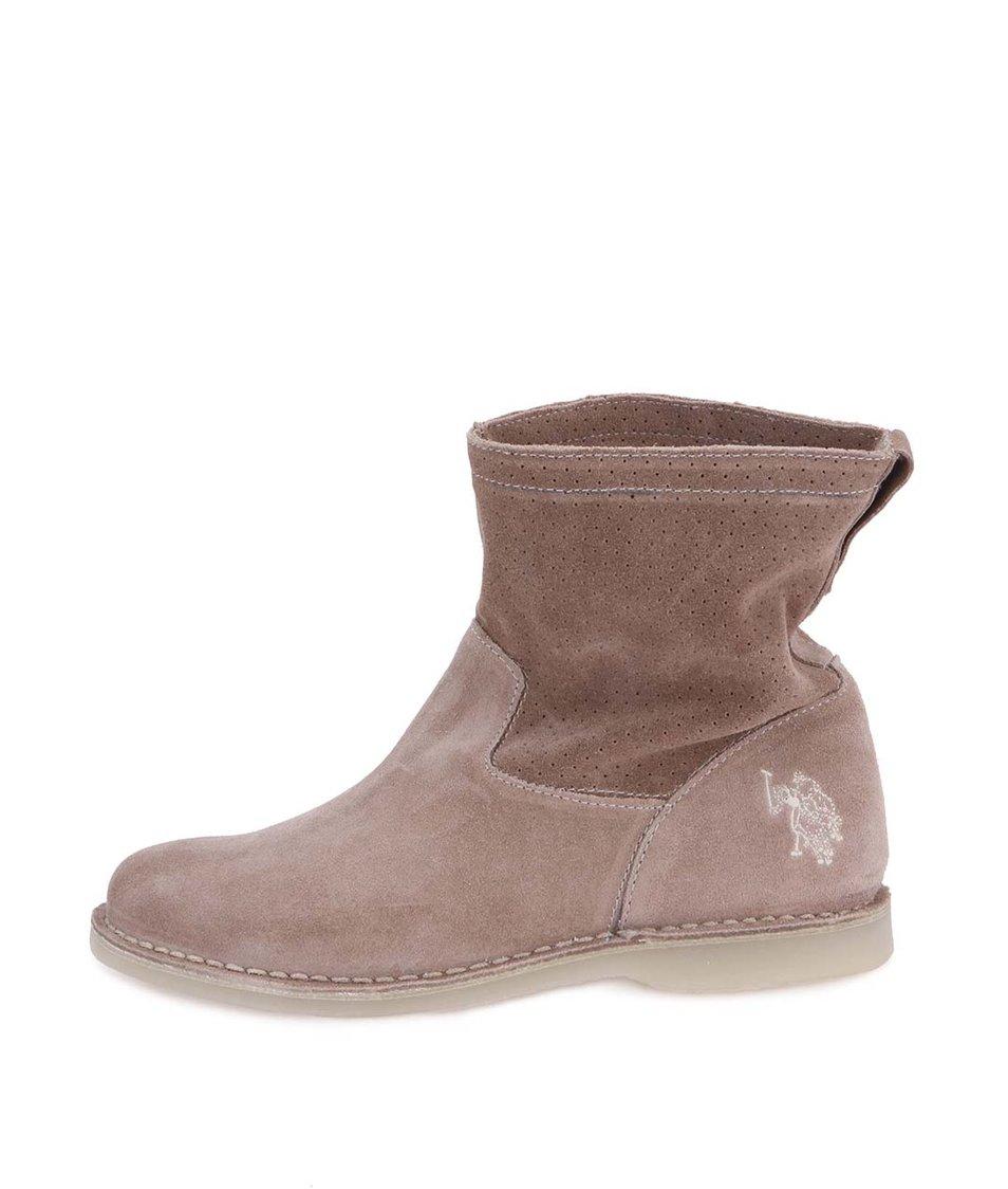 Béžové dámské kotníkové boty U.S. Polo Assn. Gianna