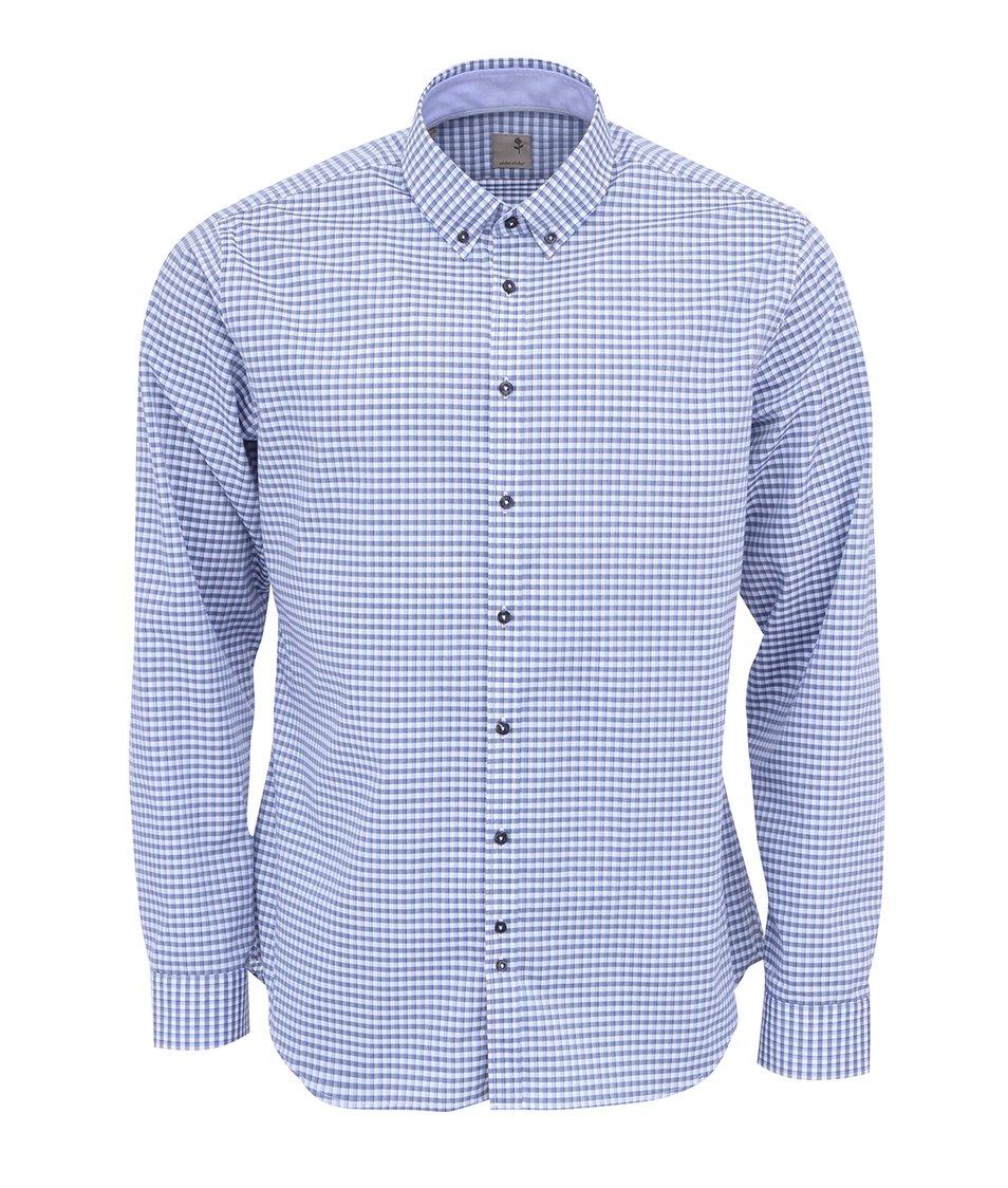 Modrá kostkovaná košile Seidensticker Slim Fit