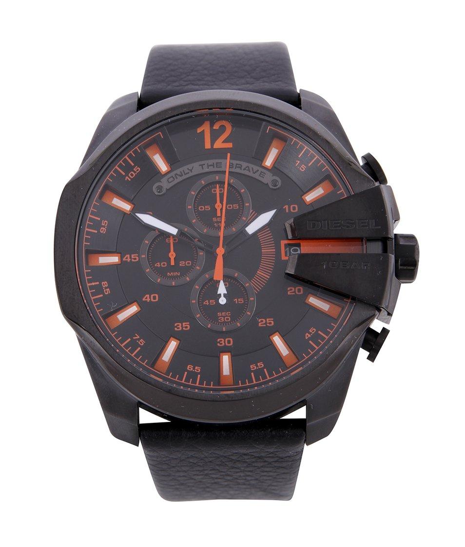 Černé pánské hodinky z nerezové oceli s koženým páskem Diesel