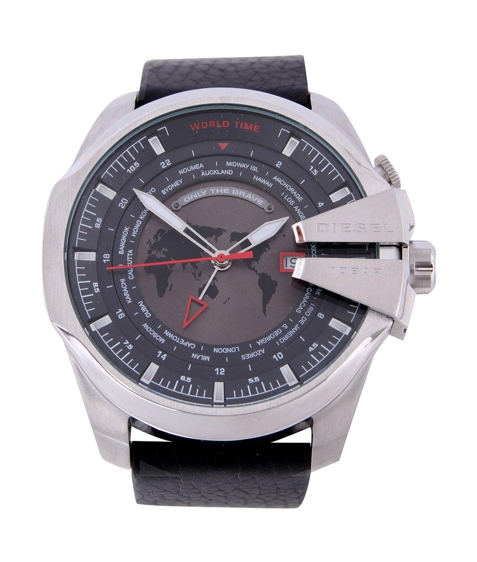 Pánské hodinky z nerezové oceli s černým koženým páskem Diesel