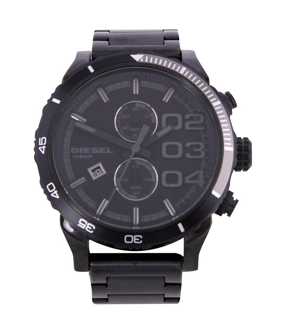 Černé pánské hodinky z nerezové oceli s lunetou Diesel