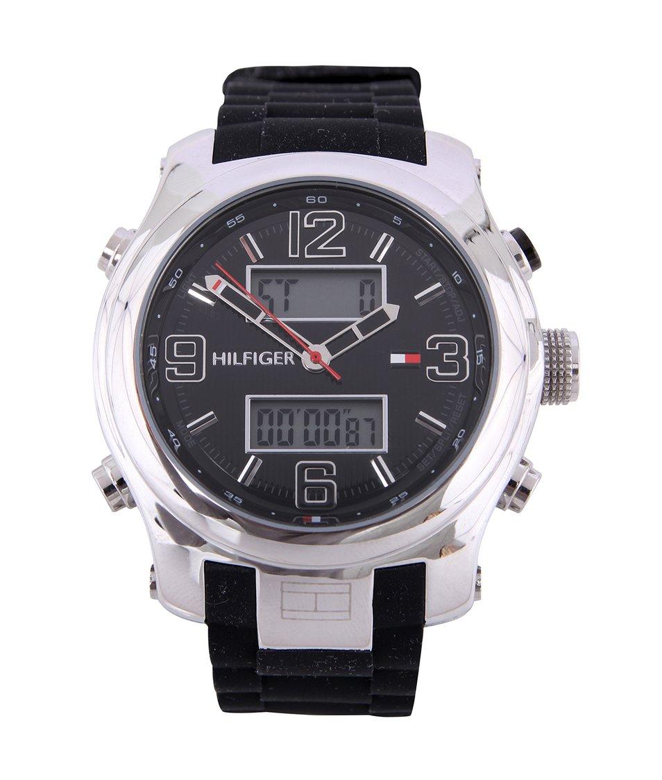 Stříbrno-černé pánské hodinky se silikonovým páskem Tommy Hilfiger