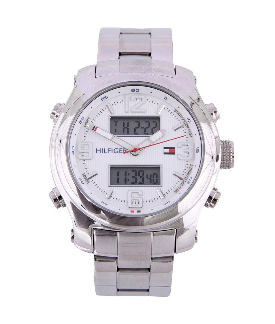 Stříbrné pánské kombinované hodinky z nerezové oceli Tommy Hilfiger