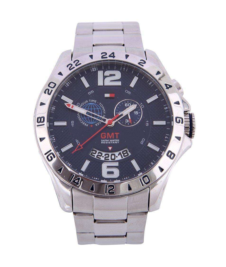 Stříbrné pánské hodinky z nerezové oceli s duálním časem Tommy Hilfiger