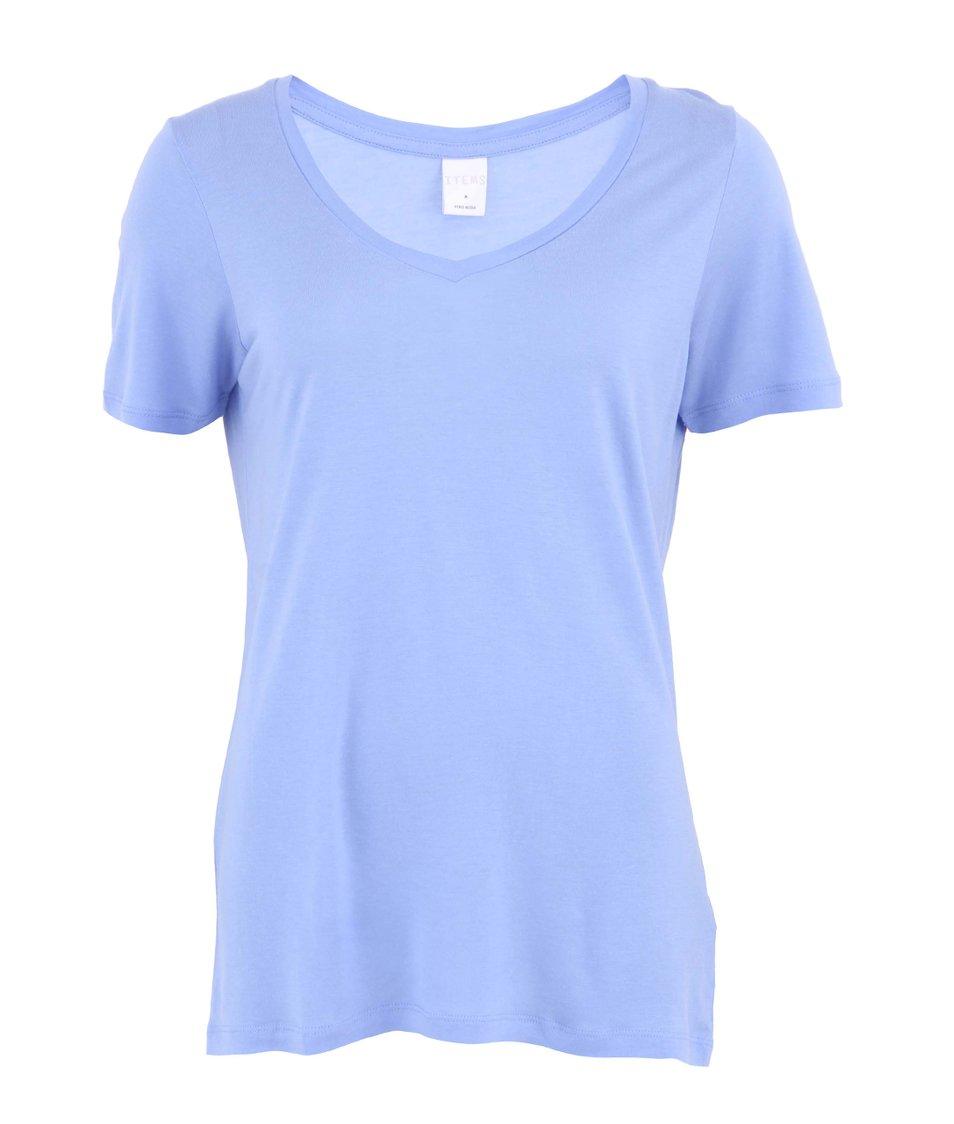 "Modré delší triko s krátkými rukávy s výstřihem do ""V"" Vero Moda White"