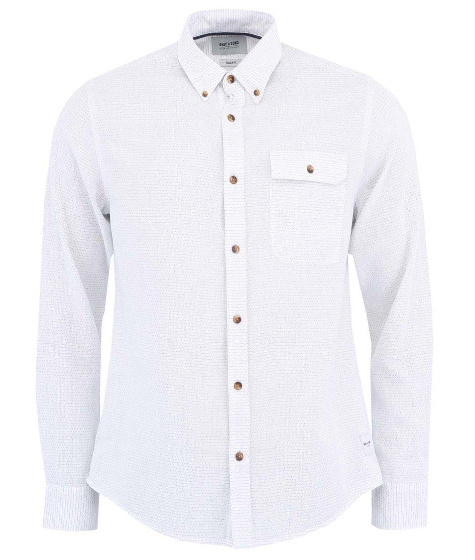 Bílá košile s modrými tečkami ONLY & SONS Meyer