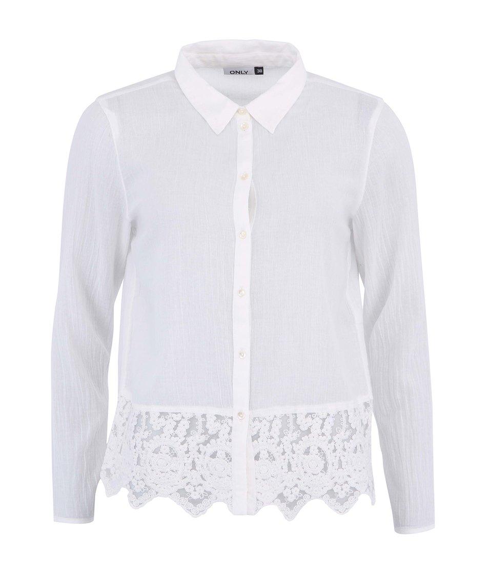 Bílá košile s krajkou ONLY Rosa