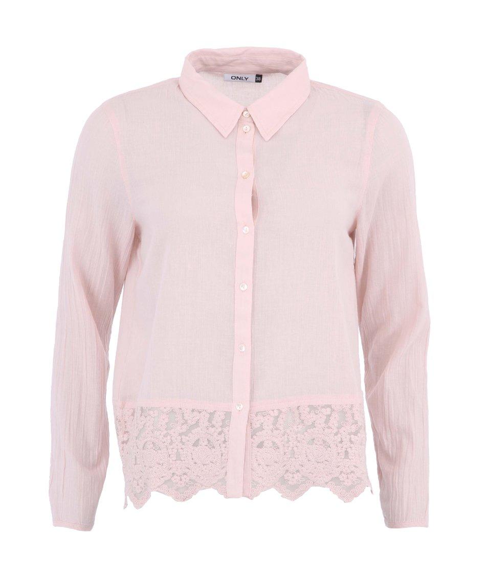 Růžová košile s krajkou ONLY Rosa