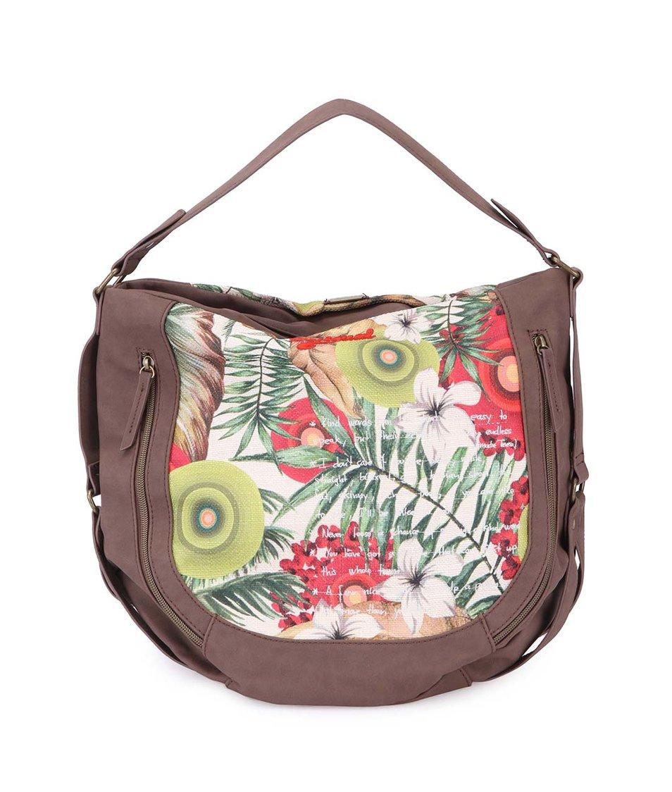 Krémovo-hnědá kabelka s květinovým vzorem Desigual