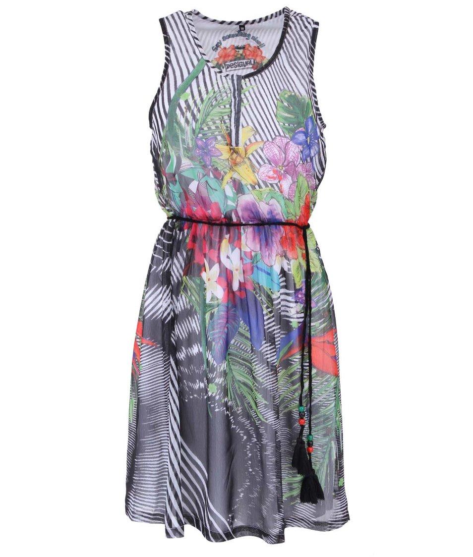Květinové volnější šaty s barevným potiskem Desigual