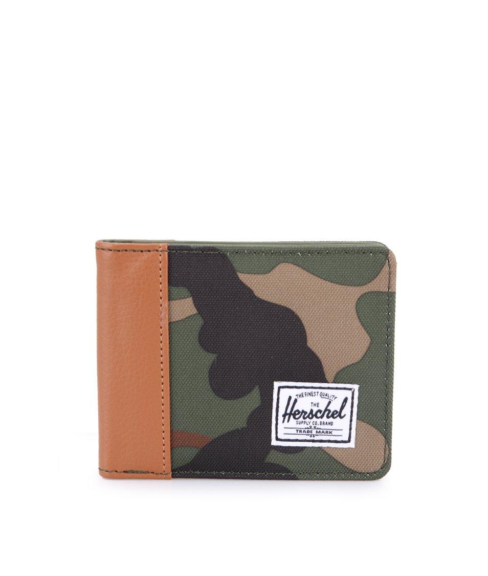 Maskáčová peněženka s hnědým lemem Herschel Edward