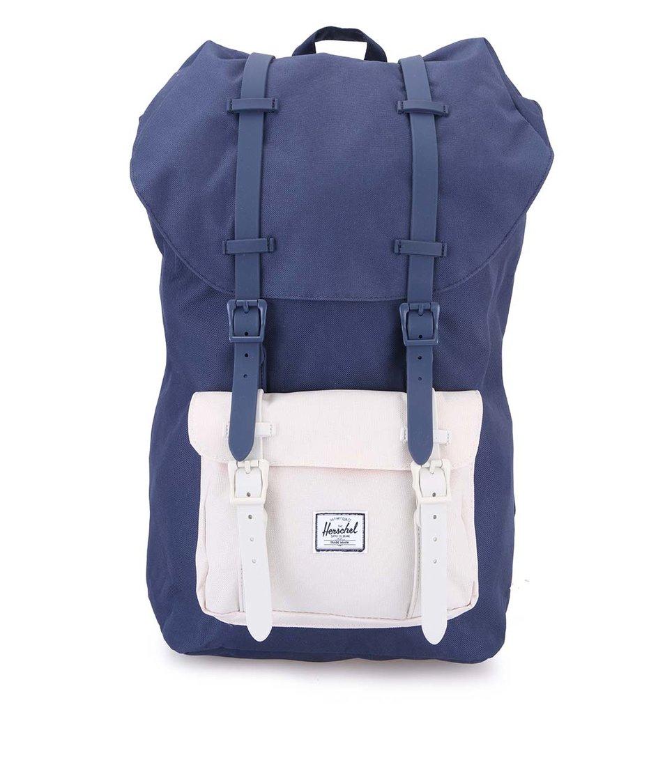 Tmavě modrý velký batoh s krémovou kapsou Herschel Little America