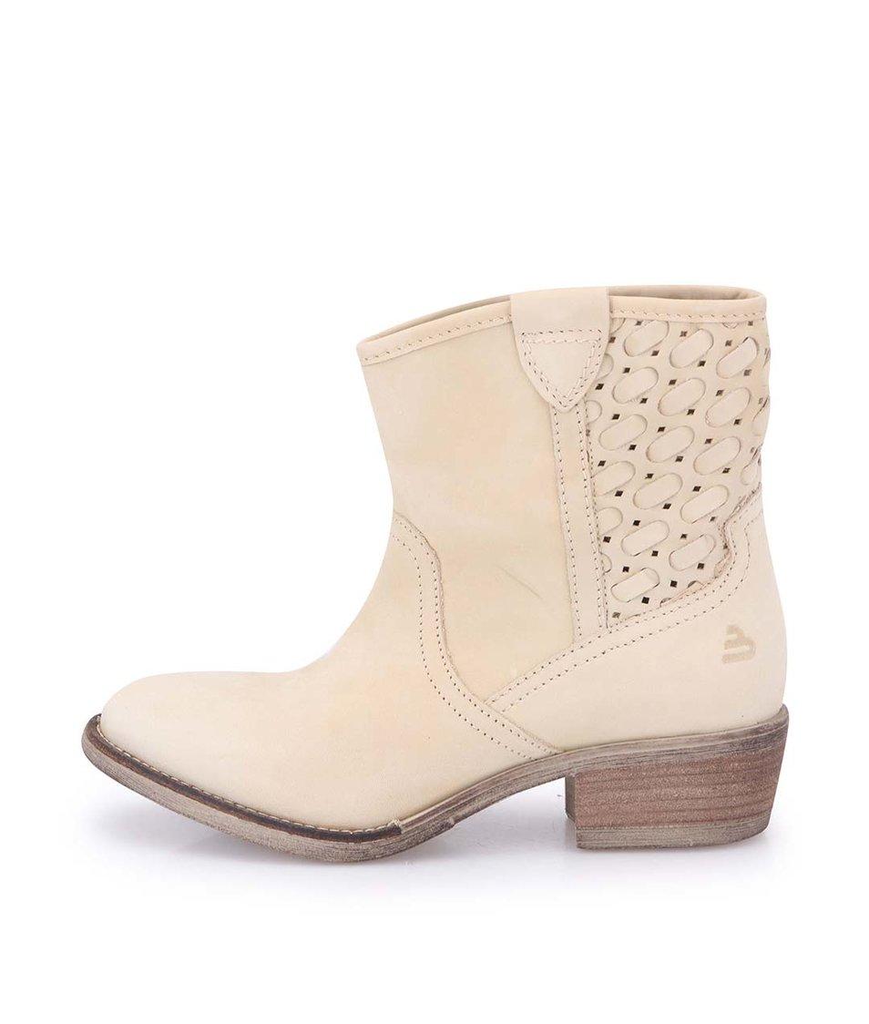 Béžové dámské kožené kotníkové boty Bullboxer