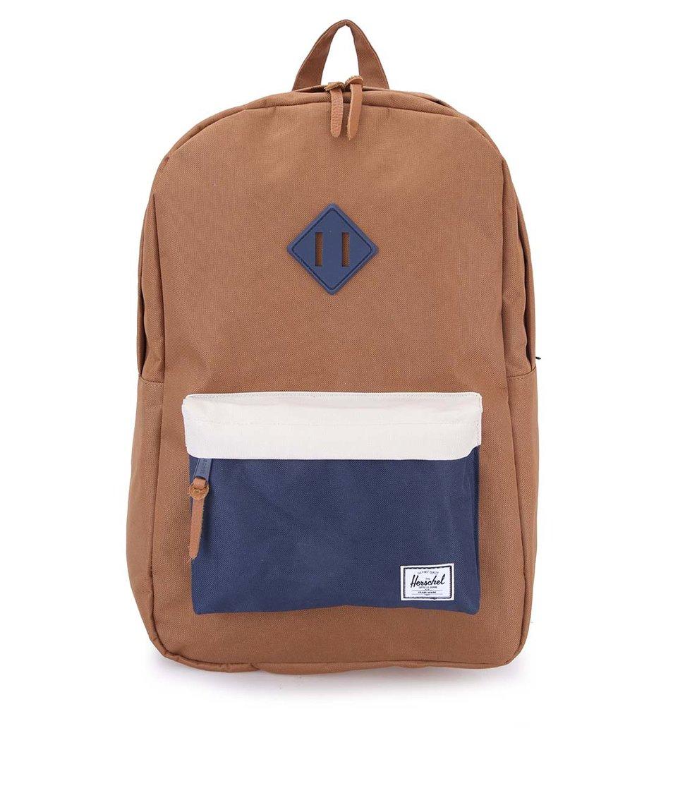 Hnědý batoh s krémovo-modrou kapsou Herschel Heritage