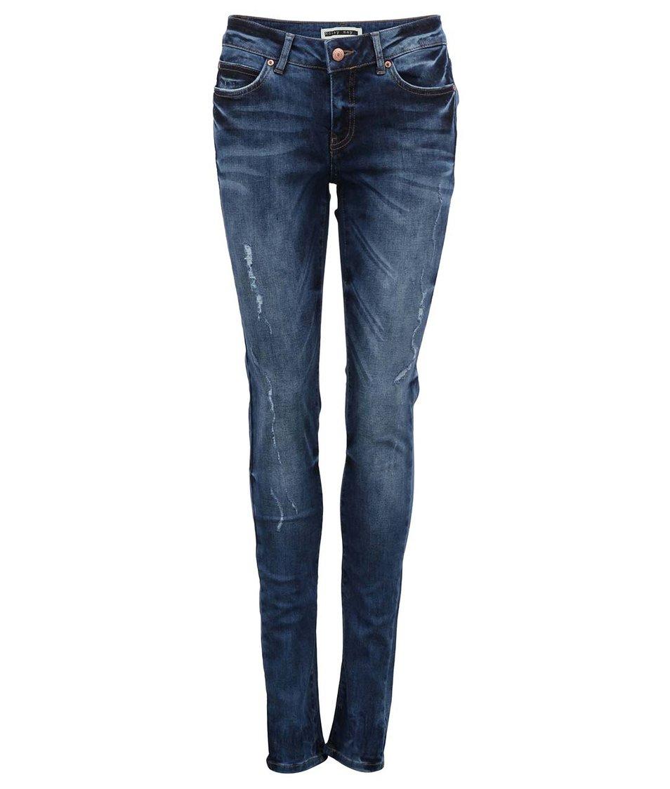 Tmavě modré slim džíny s vyšším pasem Lucy Noisy May