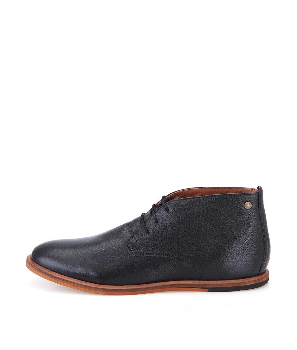 Černé kožené kotníkové boty Frank Wright Strachan