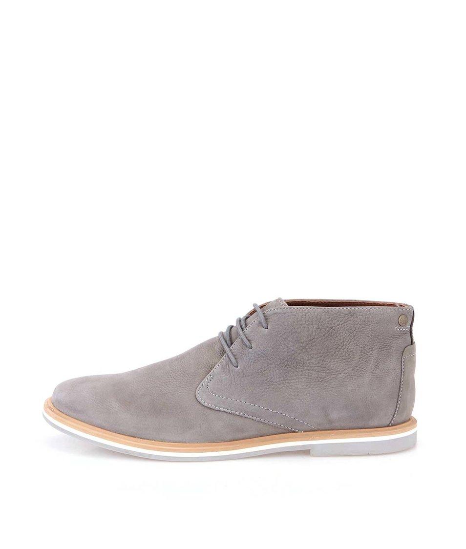 Šedé kožené boty Frank Wright Barnet