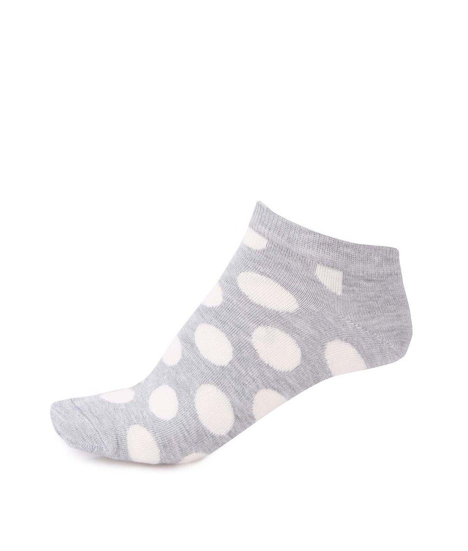 Bílo-šedé pánské kotníkové ponožky s puntíky Happy Socks
