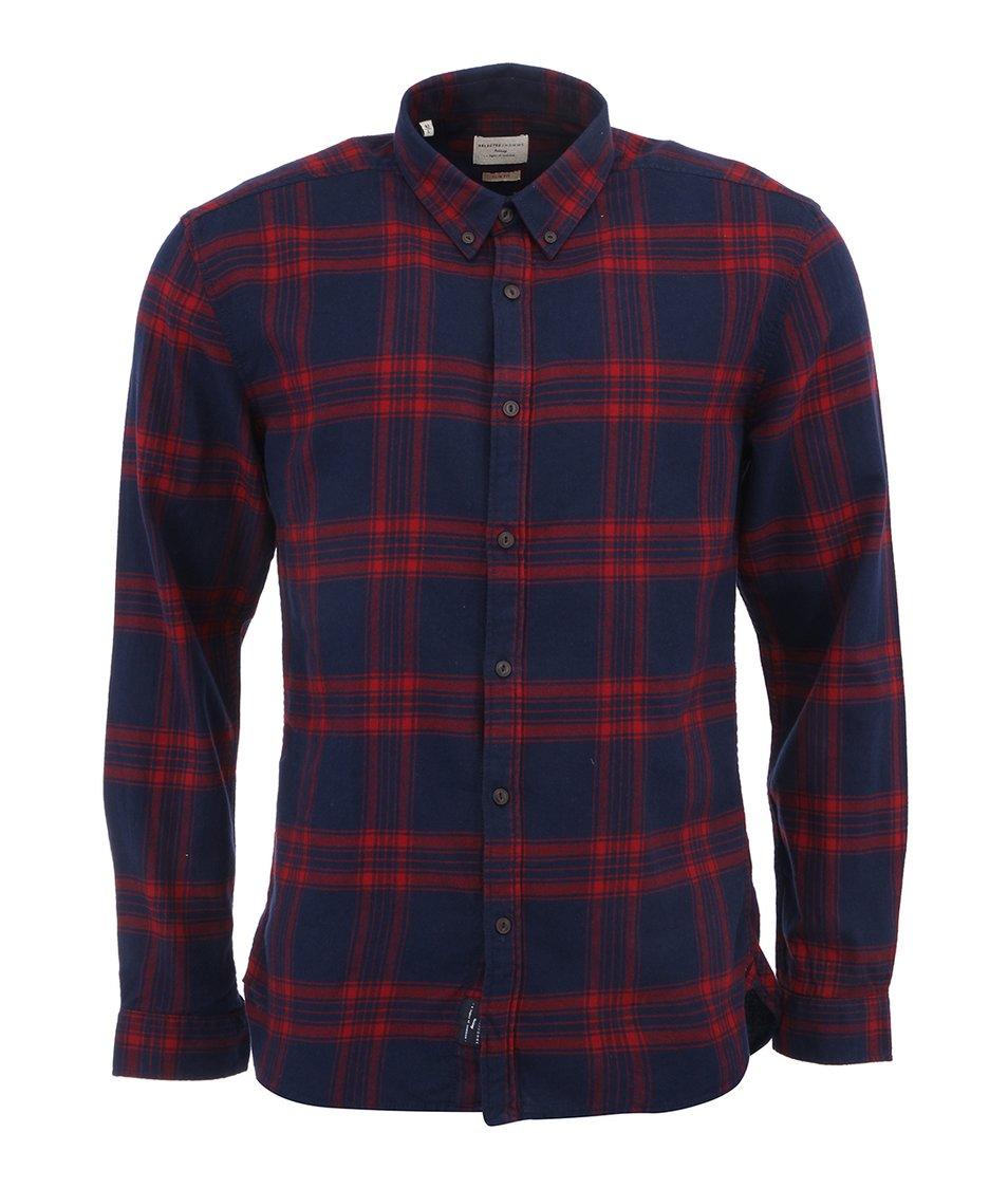 Modro-červená flanelová košile Selected Terry Slim Fit