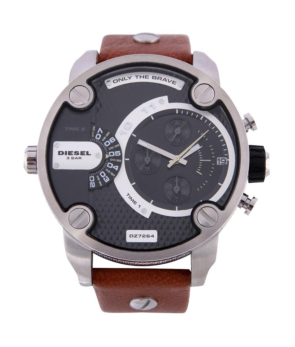 Pánské hodinky z nerezové oceli s hnědým koženým páskem Diesel