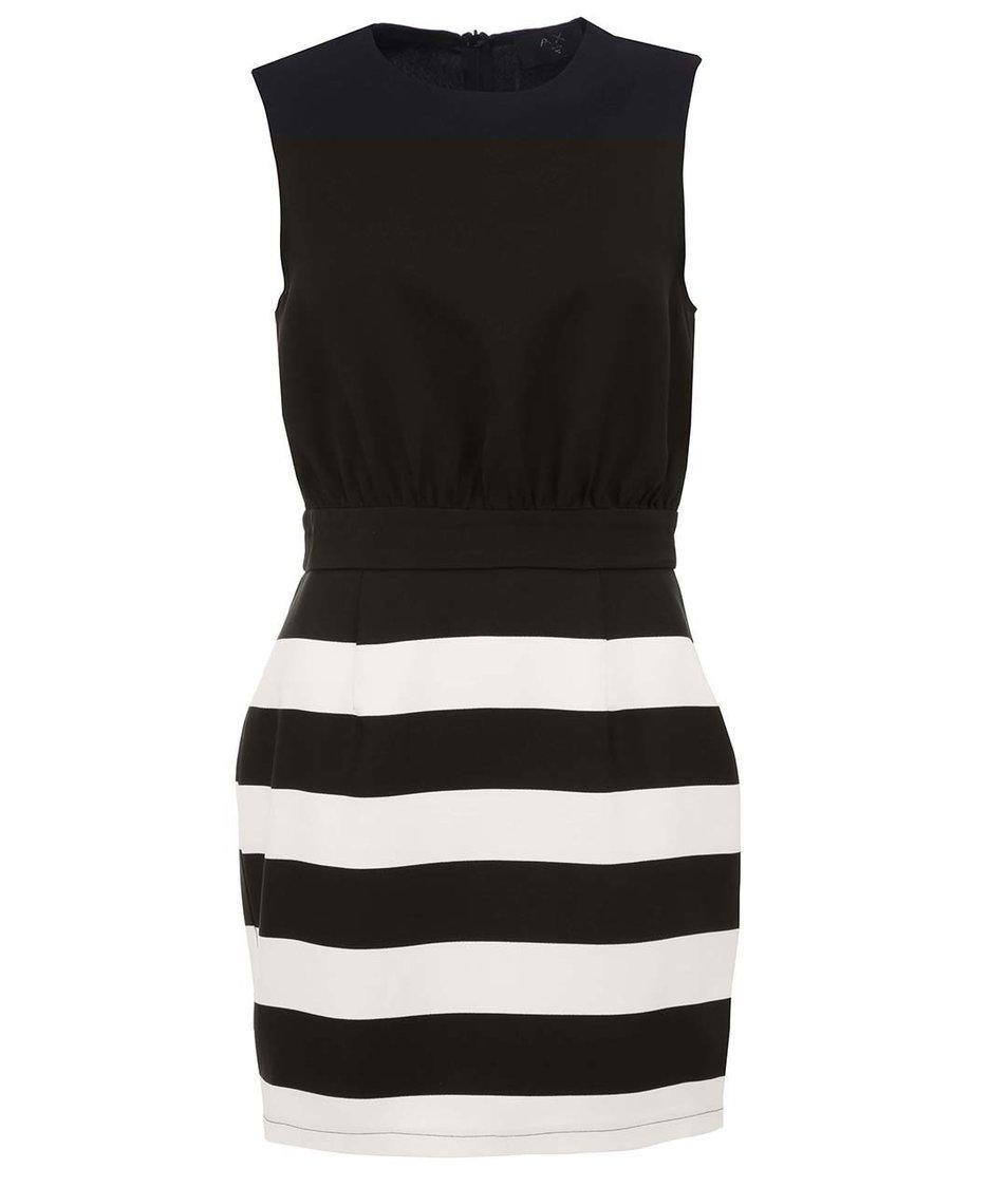 Černo-bílé pruhované šaty AX Paris