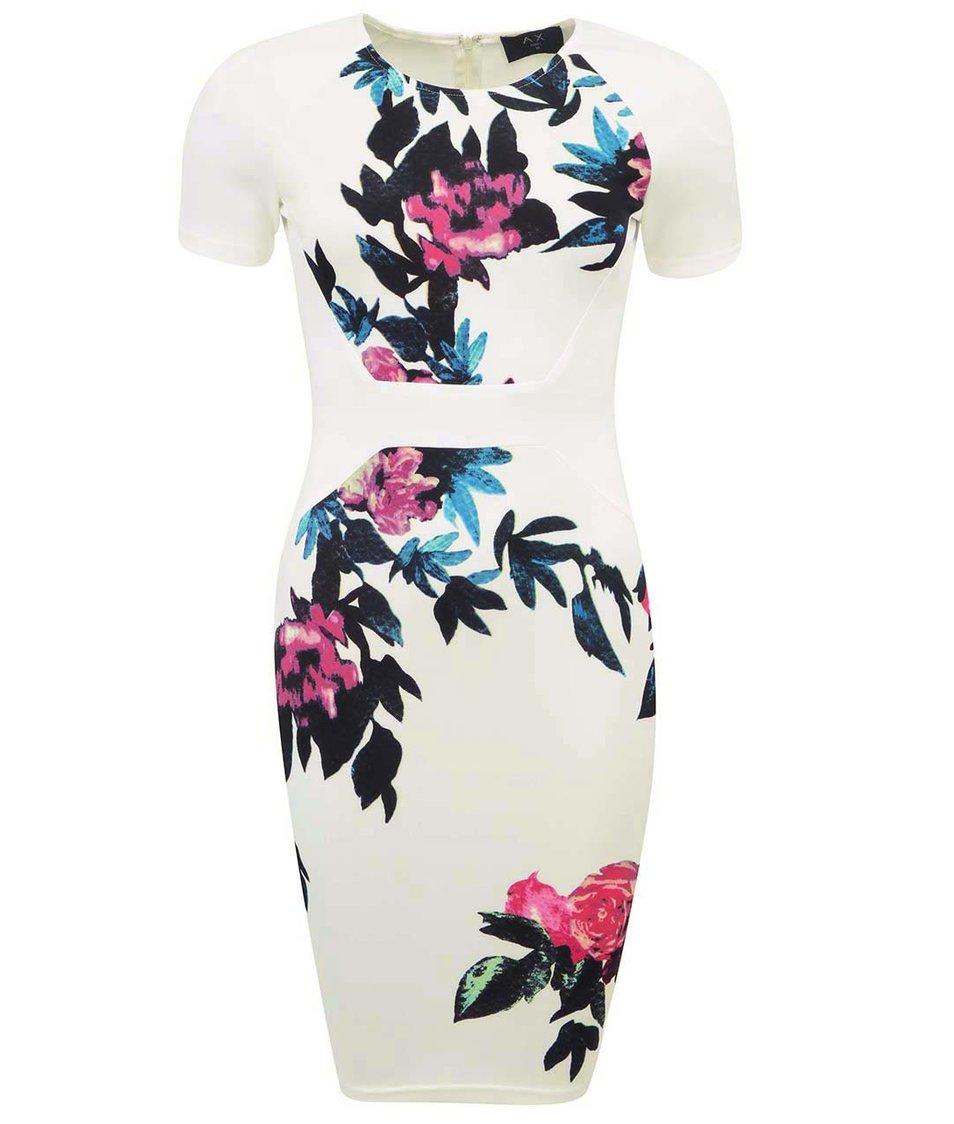 Bílé květované šaty ke kolenům AX Paris