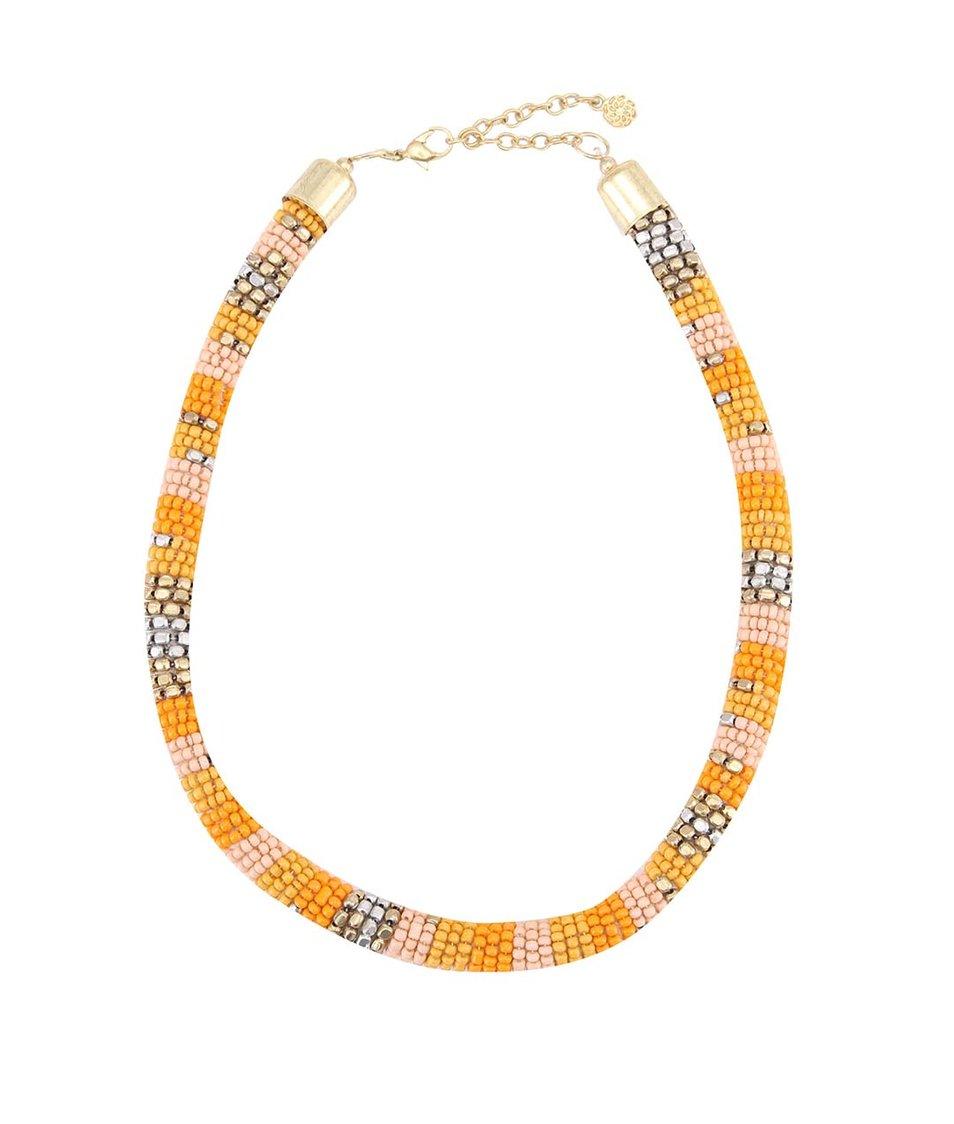 Růžovo-oranžový náhrdelník Pieces Jaya